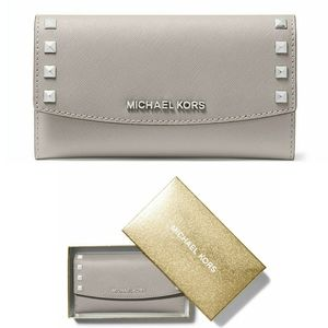 🆕 MICHAEL KORS Studded Gray Leather Large Wallet